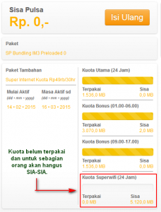Indosat Super Internet Kuota SuperWIFI Sia-Sia