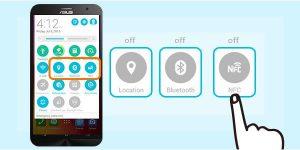 7 Lokasi, Bluetooth, atau ikon NFC.