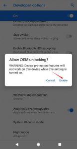 Google Pixel 3 Allow OEM Unlocking Confirmation